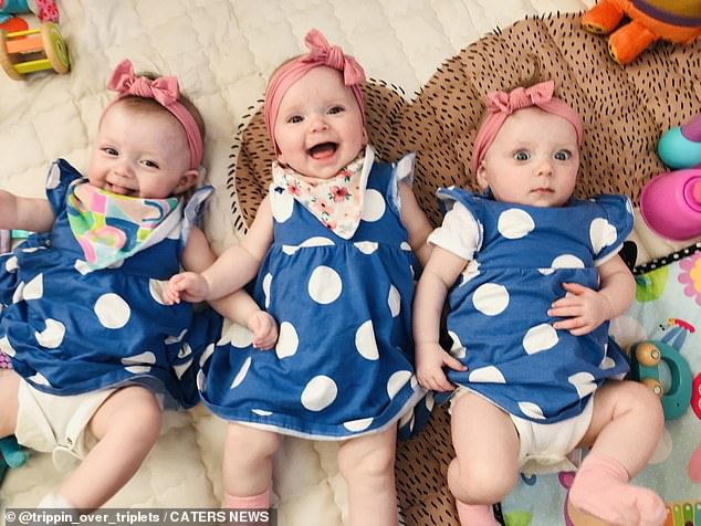 Niamh was told that her babies had to be delivered immediately, when she began to feel unwell at 30 weeks. Pictured: Molly, Chloe and Megan
