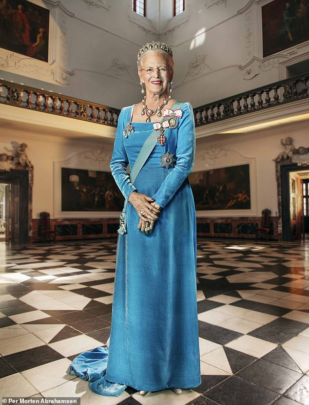 Queen Margrethe (pictured) of Denmark posed for a new portrait taken atFredensborg Palace to mark her 80th birthday