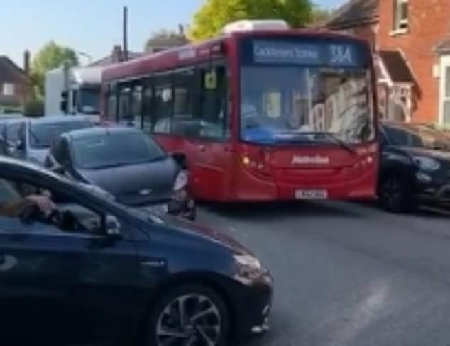 A residential road in London was today blocked in a standoff between a bus, a van and a car as locals across the capital accuse Sadiq Khan of diverting traffic from richer to poorer areas