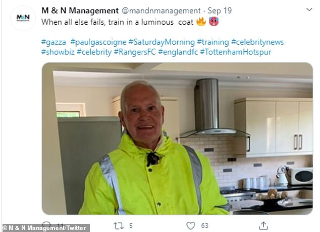 They tweeted: 'When all else fails, train in a luminous coat #gazza #paulgascoigne #SaturdayMorning #training #celebritynews #showbiz #celebrity #RangersFC #englandfc #TottenhamHotspur.'