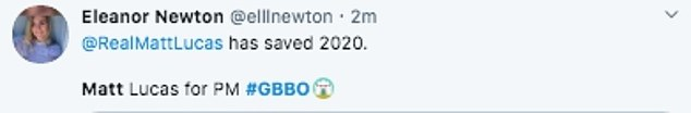 'Sensational': Viewers soon flooded Twitter to laud Matt on the ingenious spoof