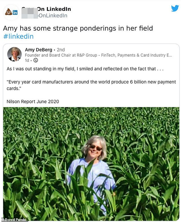 Rather far afield! Amy, from Dakota, shared an inspirational quote, accompanied with a picture of herself in a field with no explanation