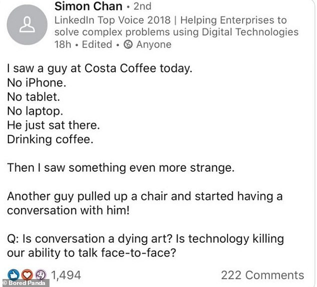Deep! LinkedIn user Simon, based at an undisclosed location, shared his profound thoughts on watching someone have a coffee