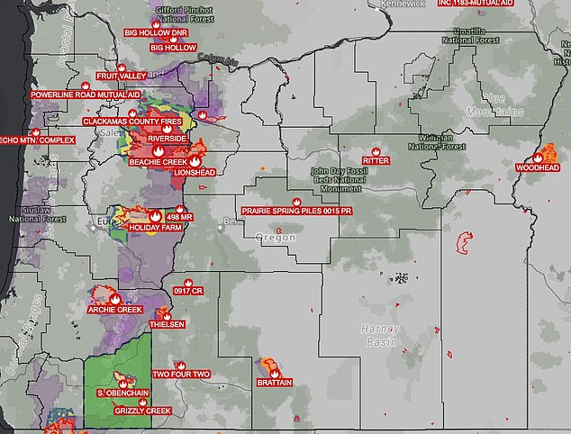 There were still ten active fires in Oregon as of Monday