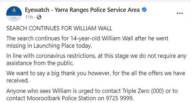 Police have advised volunteers to stay home saying: 'At this stage we do not require any assistance from the public'