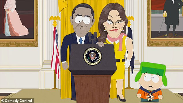 Satirical: The 'stunning and brave' joke derives from an episode of South Park in which everybody in the town agrees that Caitlyn Jenner is 'stunning and brave' because they're afraid they will be labelled transphobic otherwise