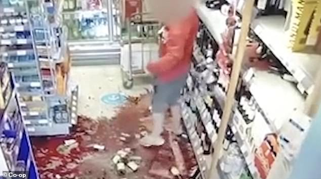 The furious shopper exits the store leaving a trail of glass all over the floor