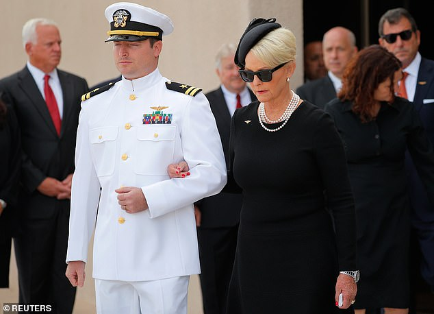 Cindy McCain with her son John McCain IV at the senator's funeral service in August 2018