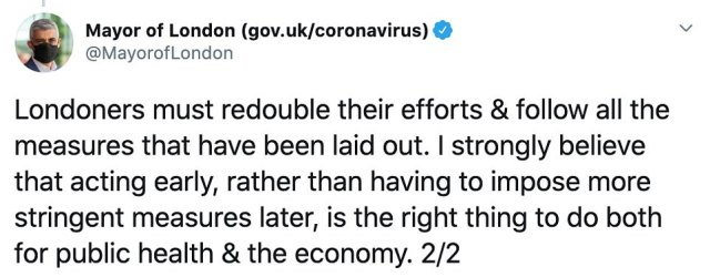 Meanwhile, London mayor Sadiq Khan, who threatened to force Londoners to wear face masks in all public spaces across the capital yesterday, supported the Prime Minister's 'early' actions