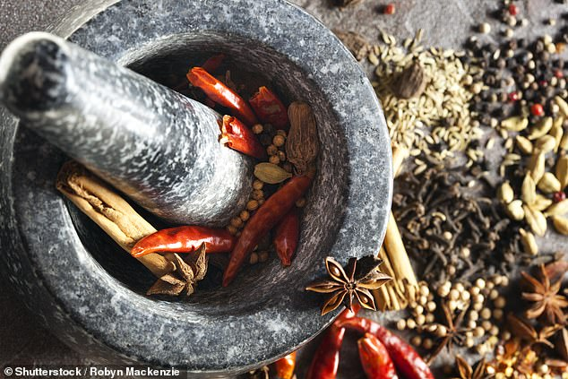 'This may sound a little unusual but when you are cooking a larb, stir-fry or even noodle soup, mortar and pestle the chicken instead of slicing,' she said (stock image)