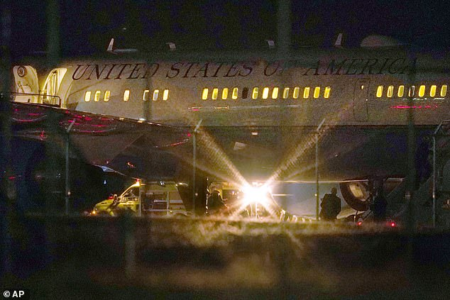 Air Force Two is seen grounded on Tuesday evening following the bird strike