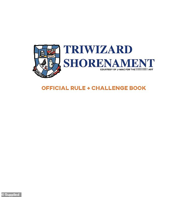 It comes after a shocking document detailing plans for a crime-spree among Year 12 students on Muck up Day was revealed, with students planning to spit on homeless men as part of the 'Triwizard Shorenament' (Pictured is the front page of the document sent between students)