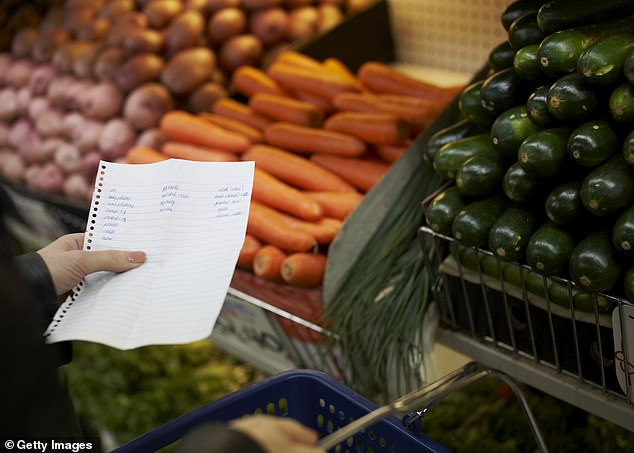 Writing a list before every supermarket trip stops you from getting sidetracked by special offers and discounts on items she doesn't really need (stock image)