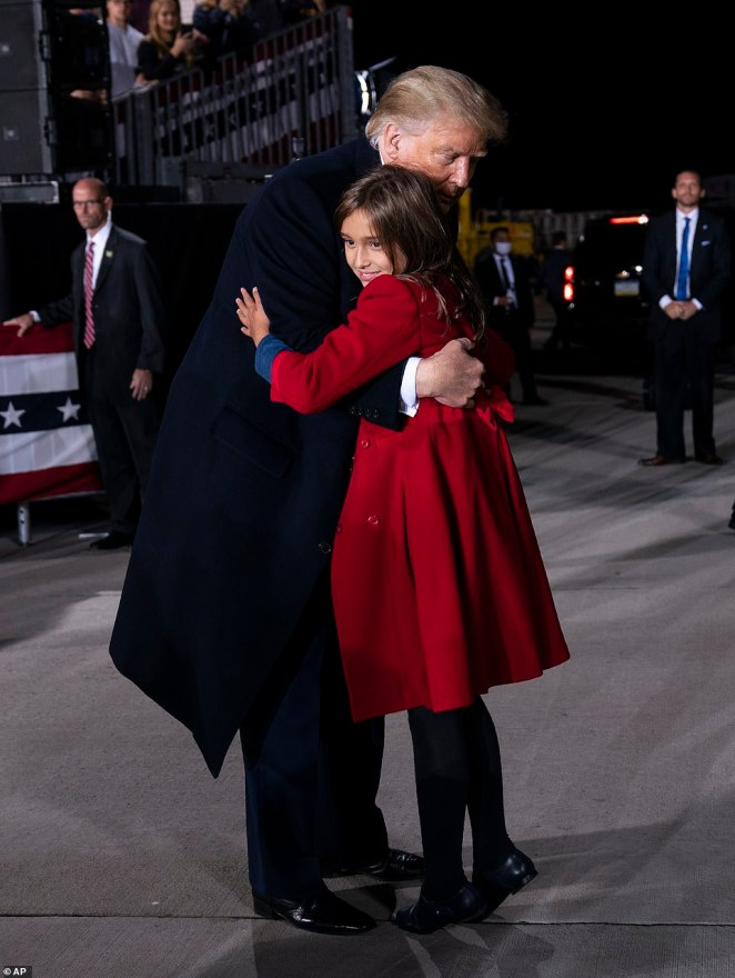 President Trump was seen embracing his adoring granddaughter Arabella Trump following his rally in Pittsburgh on Tuesday night
