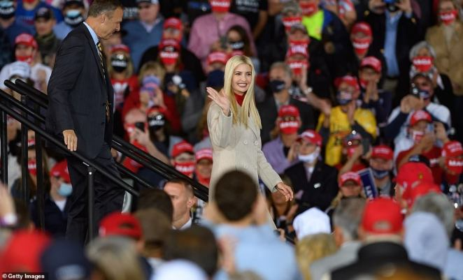 While Jared stayed behind-the-scenes, Ivanka strutted across the stage after being introduced to cheering fans by her father