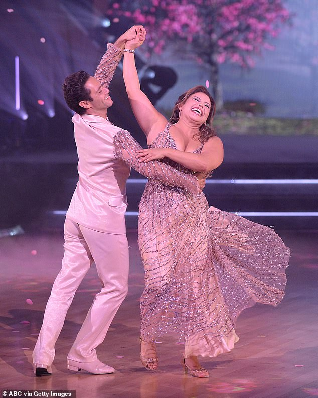 High scores:At the top of the leaderboard was Justina Machado, 48, and partner Sasha Farber, 36, who did a foxtrot to Whitney Houston and Mariah Carey's When You Believe