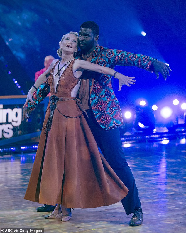 Another foxtrot: Anne Heche, 51, and Keo Motsepe, 30, also did a foxtrot to OneRepublic's Counting Stars, for which they nabbed 18 points