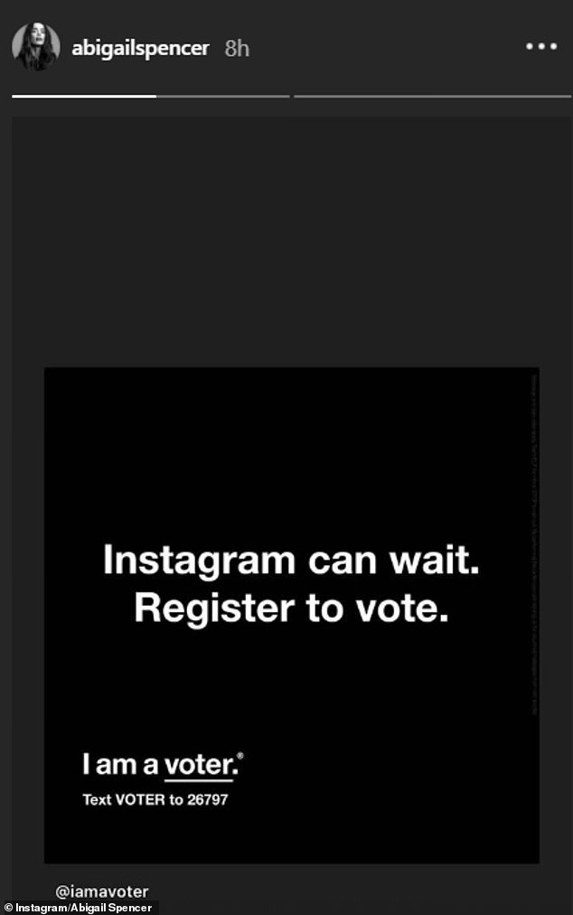 Meanwhile fellow Suits co-star Abigail Spencer also shared the post asking followers to register to vote yesterday