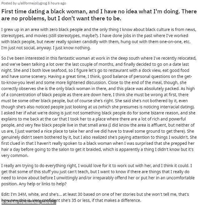 The 34-year-old penned a lengthy post on Reddit revealing he's in need of advice on how to date a black woman without putting her in any uncomfortable positions