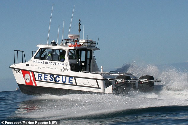 They rushed him back to shore at the Crowdy Head boat ramp where they were met by volunteers from Marine Rescue New South Wales (pictured)