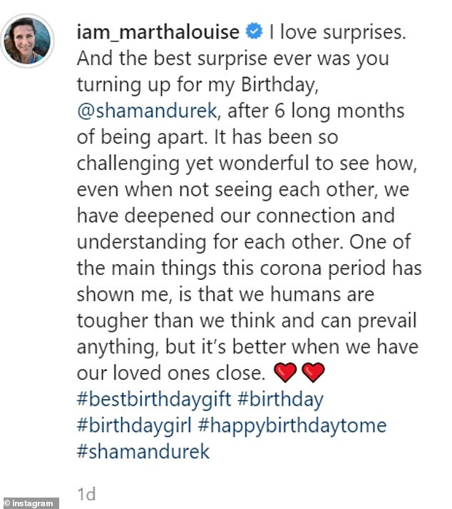 The Princess shared a heartfelt message about the reunion with Durek on Instagram, along with a sweet picture
