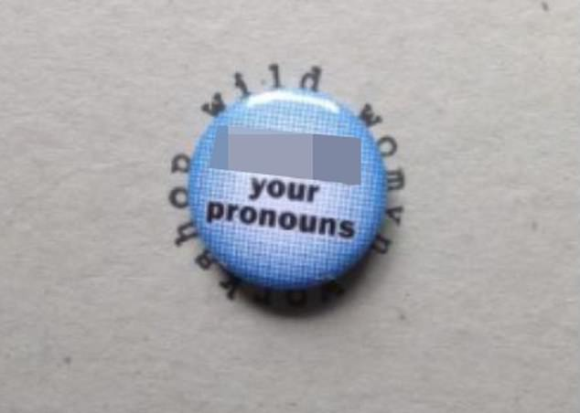 Other products at the store read 'f*** your pronouns' (pictured), causing fury to erupt over the author's tweet