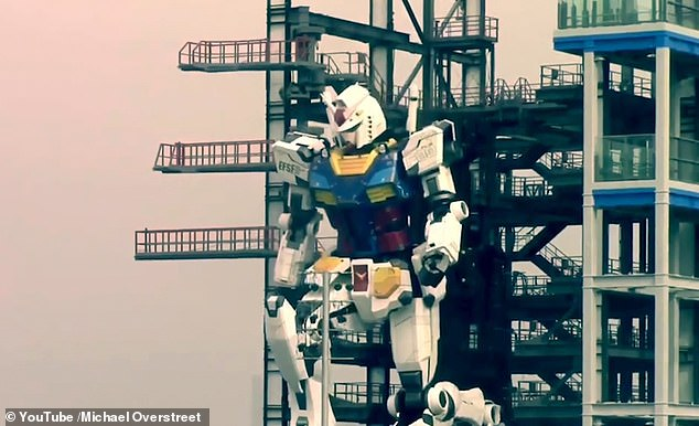 The humanoid robot was built as part of a new attraction at Yamashita Pier by engineers at Gundam Factory in the Port of Yokohama and was seen 'taking a knee'
