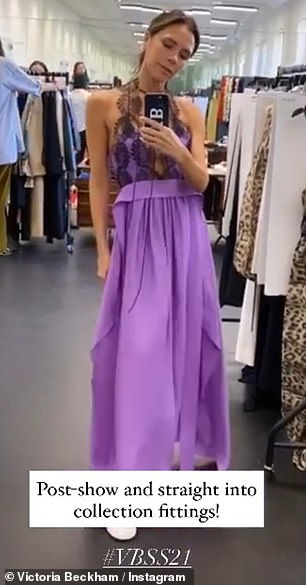 After the show: After also modeling the dress in purple, Posh said the design was `` one of my favorites, '' as she asked her fans, `` What color do we like?  ''