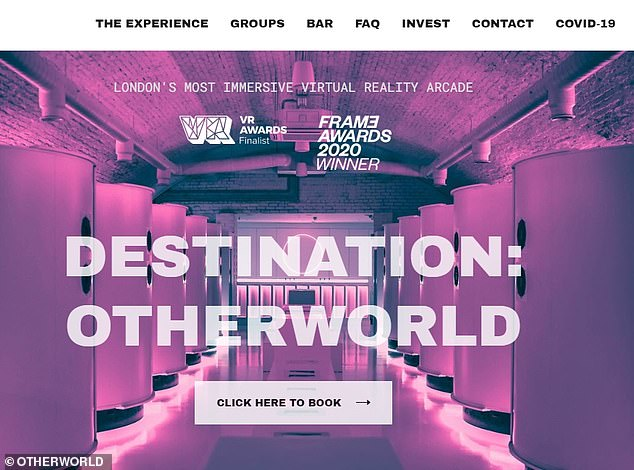 Immersive:The 'couple' were spotted at OTHERWORLD, an 'innovative social entertainment concept using unique, multi-sensory virtual reality technology', which is held in a converted railway arch in a backstreet in Haggerston