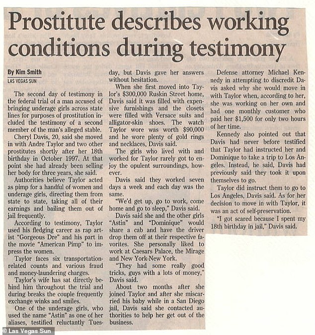 Newspaper clippings from his 2000 trial where victim Cheryl Davis, 20 at the time, told the court she moved into his $300,000 home with him and two other prostitutes in 1997 just after her 18th birthday