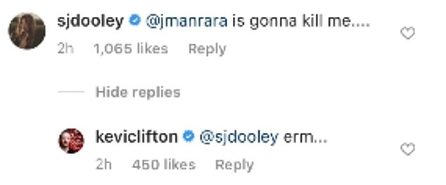 Funny:Stacey also commented on the post as she joked that it was Aljaz, 30, she wrote: '@jmanrara is gonna kill me....' with Kevin replying with 'erm...'