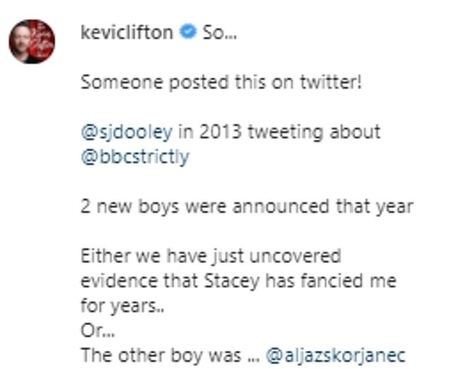Uncanny!Kevin wrote alongside the picture that two new professional male dances were unveiled that year - himself and Aljaz Skorjanec