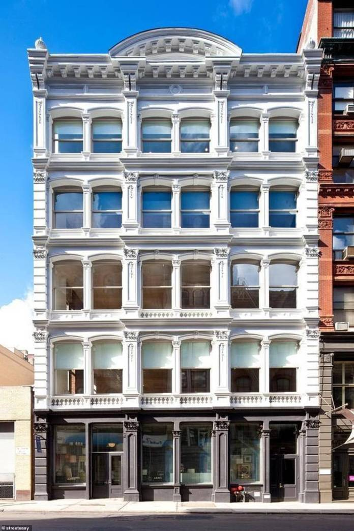 The loft is locate on the top three floors of 421 Broome Street which was concerted to condominiums ion 2010