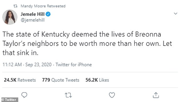 Think about that:Journalist Jemele Hill wrote: 'The state of Kentucky deemed the lives of Breonna Taylor's neighbors to be worth more than her own. Let that sink in'