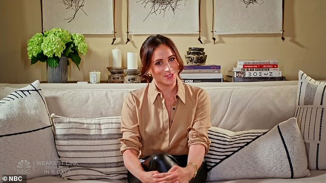 Megan's message: Megan, Duchess of Sussex then appeared on the screen from her house, where she sat on a sofa surrounded by pillows, with books and a vase of hydrangeas behind her