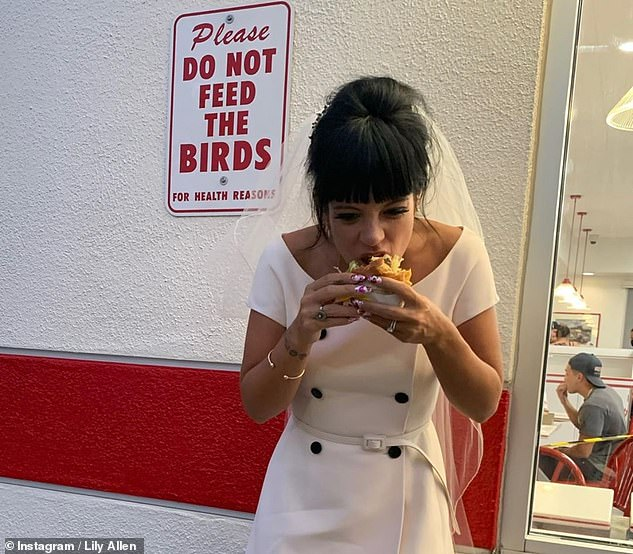 Delicious: The couple exchanged their vows in Las Vegas before celebrating their union by grabbing a burger from the fast food chain In-N-Out