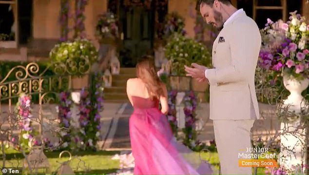Horrified: Bella swiftly ran away from The Bachelor, who was still tearful as she left him on his own