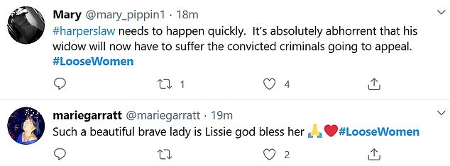 Viewers felt for Lissie and praised her determination to put Harper's Law into action after her appearance on the show