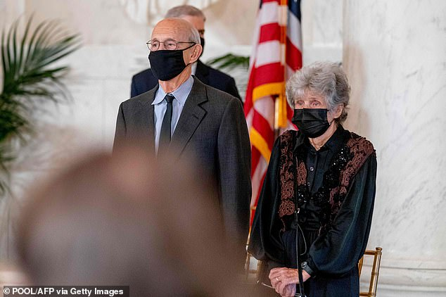Justice Stephen Breyer and his wife Joanna at Ginsburg's memorial service