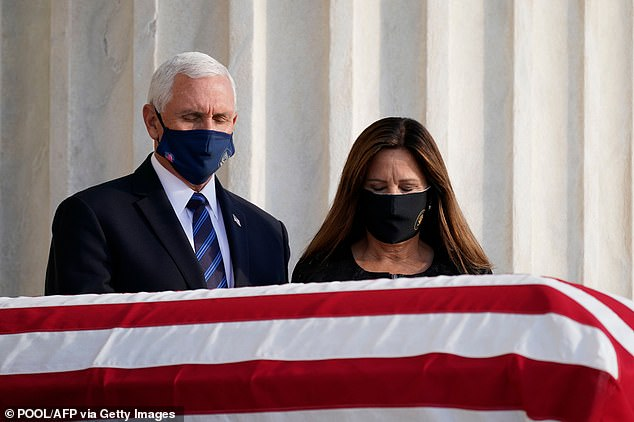 Vice President Mike Pence and second lady Karen Pence paid their respects to Ruth Bader Ginsburg when they visited her casket on Wednesday evening