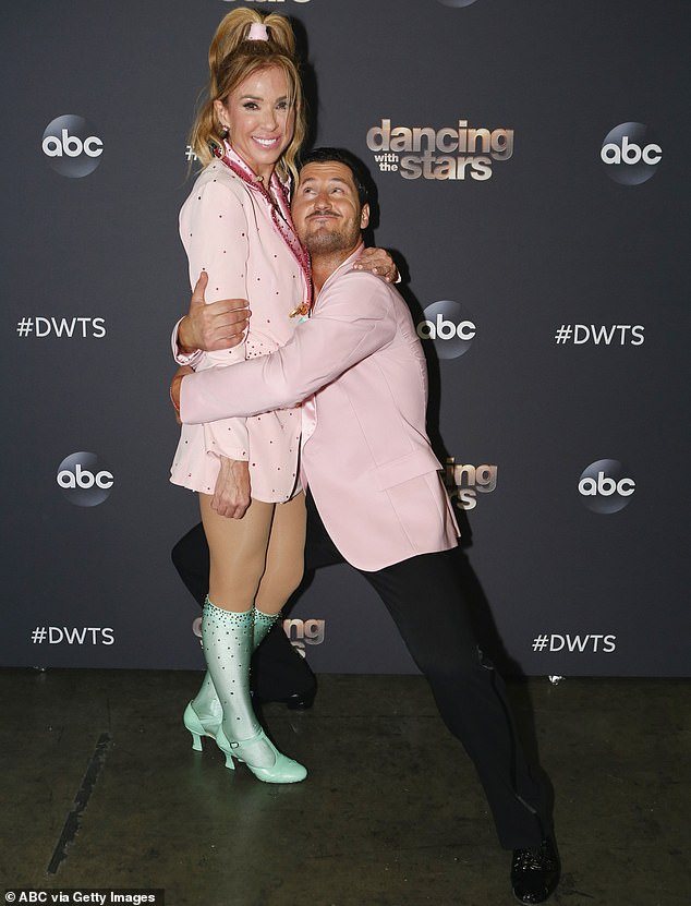 Affectionate: Aldama and Chmerkovskiy are pictured posing up at this week's taping of the smash hit reality TV series