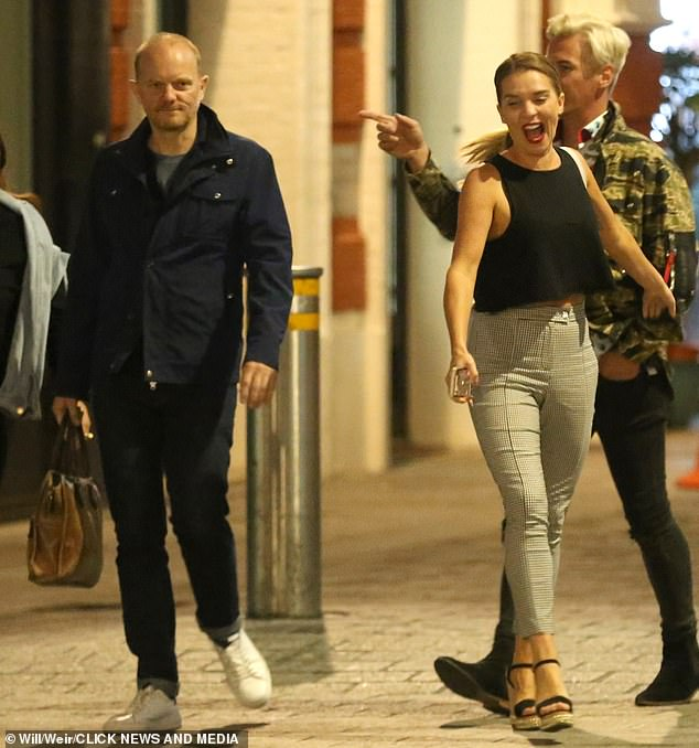 Famous friends:Candice and her mystery man were also joined by her former Dancing On Ice 2018 professional partner, Matt Evers, and a female friend