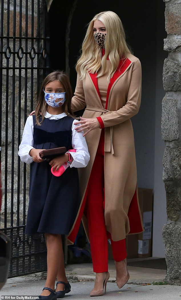 Back to school: Ivanka Trump was seen taking her nine-year-old daughter Arabella to school on Thursday morning