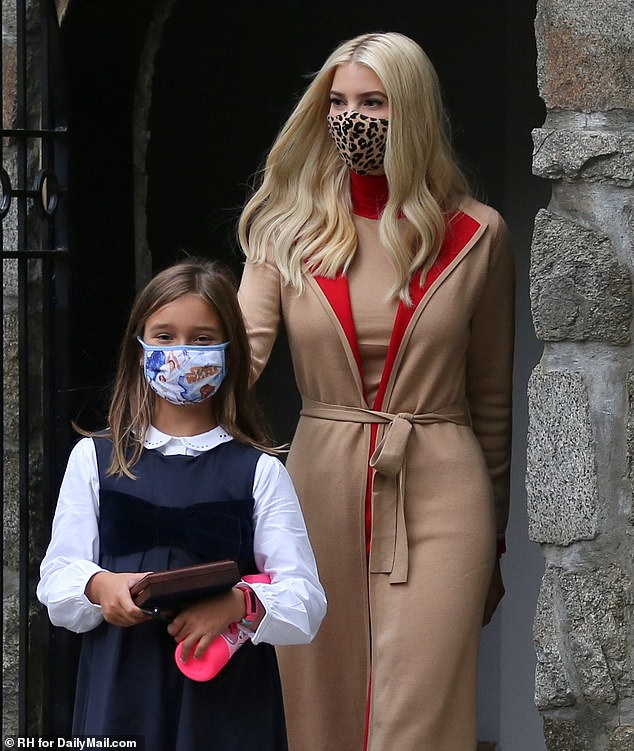 Protected: Both mother and daughter wore fabric face masks that matched their outfits, with Ivanka sporting a leopard print and Arabella opting for a playful blue Star Wars-themed one