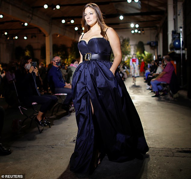 Glamour: Ashley pulled her best supermodel smoldering stare as she worked her magic while making her way down the catwalk