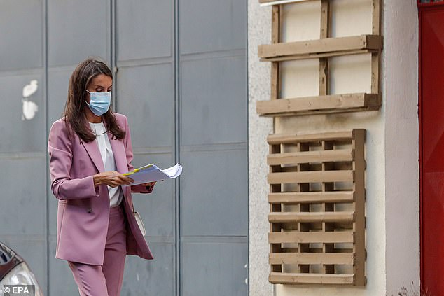 The mother-of-two, who is married to King Felipe of Spain, wore a blue medical mask and was seen re-reading her notes ahead of the meeting