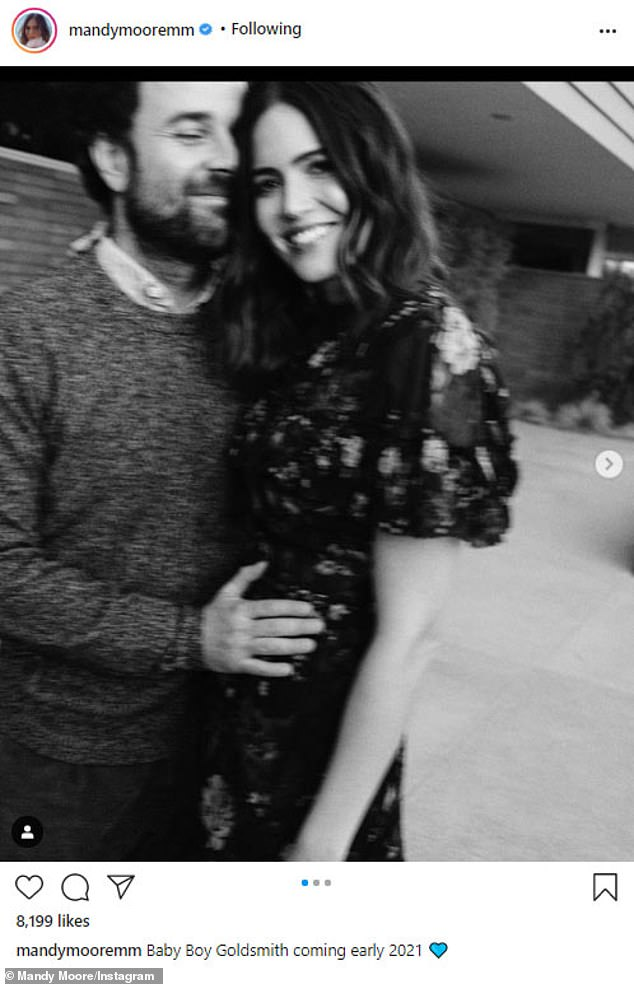 Baby joy! Mandy Moore announced she is expecting her first child, with husband Taylor Goldsmith, to Instagram on Thursday
