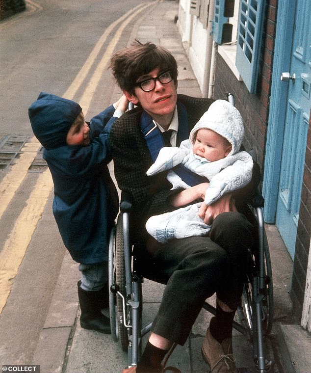 Professor Hawking in the 1970's with his children Robert and Lucy