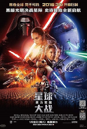 A 2015 Chinese poster advertising Star Wars: The Force Awakens (pictured) completely airbrushed out one of the main characters, Finn, played by the black British actor John Boyega, although he appeared in the poster used in the rest of the world