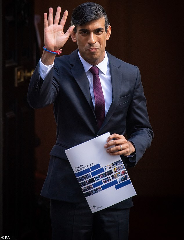 Chancellor of the Exchequer Rishi Sunak holds a copy of his Winter Economy Plan outside No 11 Downing Street before heading for the House of Commons to give MPs details of his Winter Economy Plan